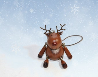 Tiny Reindeer Cell Bag Friend Polymer Clay Doll with Cellphone Strap Christmas decoration