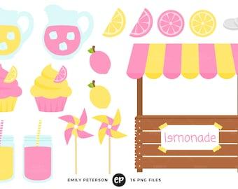 50% OFF SALE! Lemonade Clip Art, Stand Clipart, Fruit Clip Art - Commercial Use, Instant Download - V1