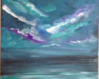 Original Seascape Painting Small Acrylic: Dramatic Sky.