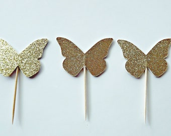 Gold Glitter Butterfly Picks -Gold Butterfly Cupcake Toppers-Butterfly party Decorations-Set of 12