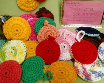 Double sided Scrubbies--perfect for kitchen use or shower!  Handmade, crocheted