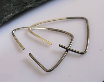 Black Triangle Hoop Earrings Black Ombre Earrings Open Hoop Earrings Large Black Hoop Earring Silver Hoop Earrings Boho Earring Triangle