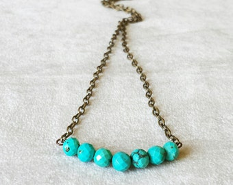 Turquoise bead strand necklace, Turquoise bar necklace, minimalist beaded layering necklace, gift for her, anniversary gift for wife