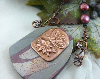 Mixed Media Pendant ~ Shield Necklace ~ Copper Butterfly Necklace ~ Polymer Clay Necklace ~ Copper Butterfly Emblem ~ Wire Wrapped Butterfly