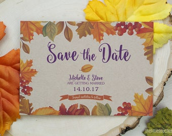 Wedding Save the Date Cards - Autumn Leaves Fall Theme