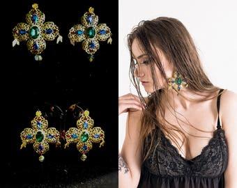 Baroque Cross Dolce Earrings Chandelier Gold Earrings Large Corss Swarovski Earrings Green Blue Red Womens Gift Byzantine Earrings Dangle
