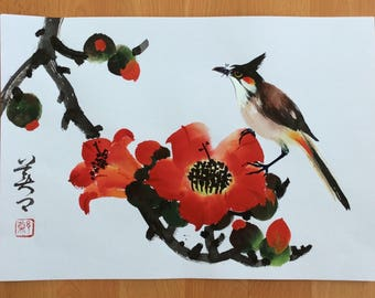 Original Chinese Painting-Blossom and Bird( Kapok Blossom and Bird)