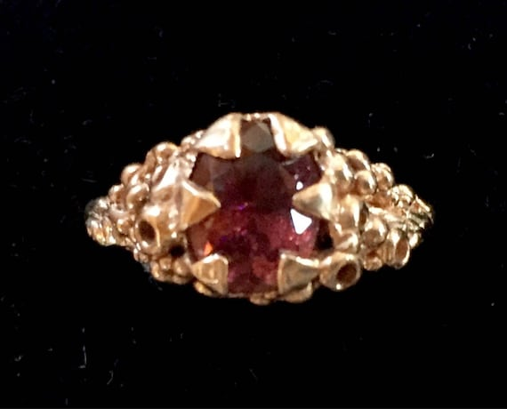 Solid Rose Gold Ring Oval Pink Tourmaline Stone One of a Kind Solitaire with 10K Red Rose Gold. Size 7