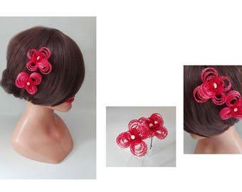 pince cheveux fleur rouge, bijoux de cheveux, barrette chapeau femme mariage, petit fascinator fleur