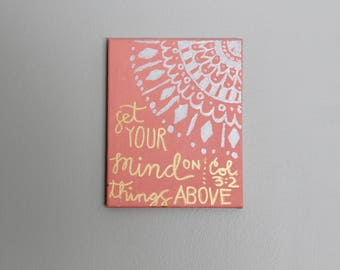 "Set Your Mind on Things Above 8"" x 10"" Canvas Quote Sign Wall Home Decor"