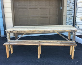 Beautiful 8ft Dining Table with 8ft Bench