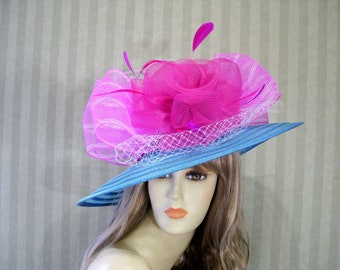 Kentucky Derby Hat, BluE and Hot PiNk Hat, Church Hat, Church Hill Downs Hat, Preakness Hat, Belmont Hat, Wedding Hat, Downton Abbey Hat