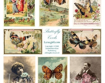BUTTERFLY CARDS digital collage sheet, DOWNLOAD vintage images, butterflies wings, Victorian art, woodland garden, French ephemera altered