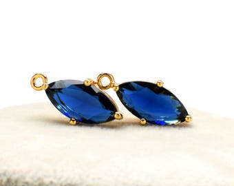 2 Marquise Montana Blue Crystal Glass Pendant, 18mm, Gold Plated over Brass Prong Setting. [M0020341]