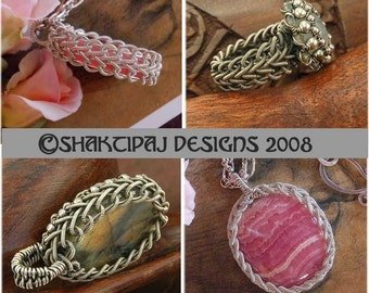 Celtic Braid Pendant Coiled Wire and Gemstone Cabochon - Instant Download Wire Jewelry Tutorial Instruction PDF