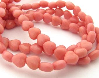 Opaque Pink 6mm Heart Czech Glass Beads 50pc #2953