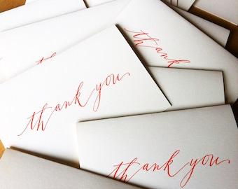 15-pack mega-deal Calligraphy tangerine Thank You letterpress cards