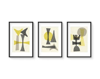 OFFSET SET no.1 - Collection of (3) Giclee Prints - Abstract Geometric Mid Century Modern