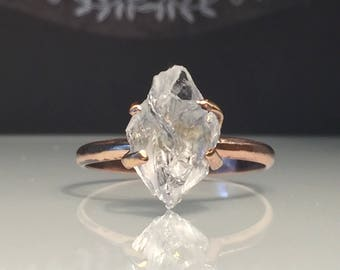 Raw Rose Gold Herkimer Diamond Ring/Gorgeous Rough Uncut Herkimer Diamond Rose Gold Ring./ Healing Crystal Ring/Free US Shipping.