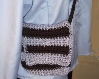 Stripe Crochet Purse--Pale Purple and Chocolate Brown Stripes