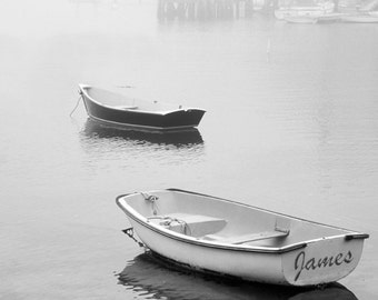 Boats in Fog Personalized Photo, Custom Boat Decor, Coastal Decor, Boater Gift, Boating Gifts, Ocean Wall Art, Gift for Fisherman