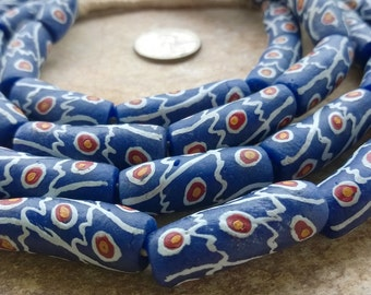 "Special Fancy Krobo Beads Full String,20 African Recycled Glass Beads,28 "" Curved Tube Beads,Ghana Beads,Special Ghana Krobo Beads"
