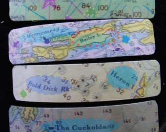 Maine Coast French Barrette with whimsy - East West Hue & Cry-Bailey Island-Bold Dick Rock-Casco Bay-The Cuckolds- Sheepscot Bay- Barrette
