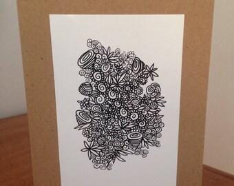 Hand drawn original pen and ink art card