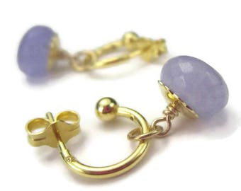 Tiny Gold Hoop Earrings Gemstone Drops Dangle Earrings Interchangeable Choose Color