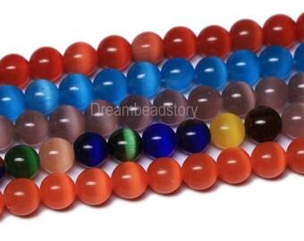 Cat Eye Beads Strands, Orange, Red, Blue, Multi Color Cats Eye Beads, 6 8 10mm Round Cats Eye Stone Beads For Handmade Jewelry (B117)