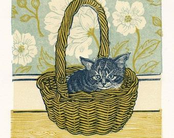 Helen (Kitten in a Basket), Linocut.