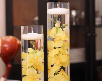 Floating Candle Cylinder Set -Orchids-Yellow,White,Red-Sweet 16-Wedding-Shower-Party-Birthday-Flowers