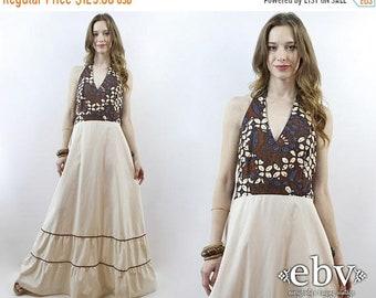 Hippie Dress Hippy Dress Boho Dress Bohemian Dress 70s Dress 1970s Dress 70s Maxi Dress Ethnic Print Dress Hippie Wedding Dress M L