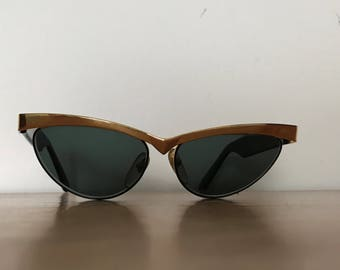 Vintage 80s STING  sunglasses, cateye sunglasses with gold metal frame