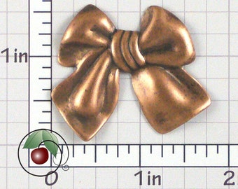 Bow Finding, Bow Stamping, Bow Decoration, Vintage Bow, Bow Embellishment, Copper Ox Plated Brass, 2 Pcs, 1488co2