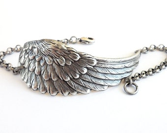 Steampunk Angel Wing Bracelet Sterling Silver Ox or Antiqued Brass Ox Finish Large Wing Silver