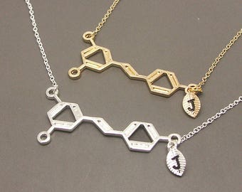 Wine Necklace, Personalized Initial Necklace, Molecule Necklace,Chemistry Necklace, Chemistry Jewelry,Science Necklace,Science Jewelry SC021