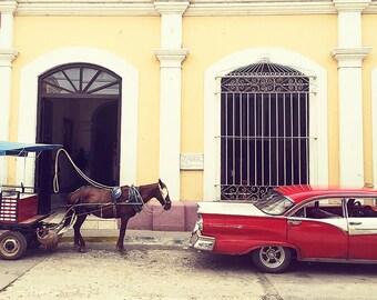 Cuba-Cuba Photography Wall Art Classic Car Wall Art Trinidad Travel Photography Cuban Street Scene by SybilMaxine