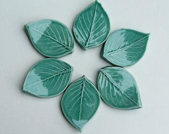 Ceramic knife/ Chopstick rest, Set of Six, Hand Made, Leaf