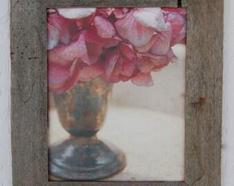 Purple Hydrangea Canvas Print, optional Barn wood Frame 8x10