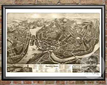 Norwich, Connecticut Art Print From 1876 - Digitally Restored Old Norwich, CT Map Poster  - Perfect For Fans Of Connecticut History