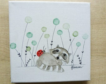 Small canvas the raccoon and Ladybug