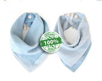Memorial Day Sale 20% Off Organic Bandana Bib, Sky Blue, Premium 100 Percent Organic Cotton Muslin Baby Bib, Reversible, Luxuriously Soft, A