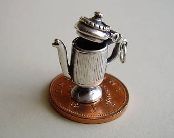 Sterling Silver Coffee Pot Opening Charm
