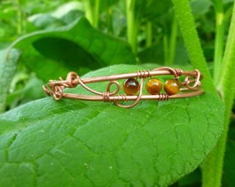 Copper Wire and Tigers Eye Bracelet, Adjustable Bangle, Wire Wrapped Tigers Eye Bracelet OOAK