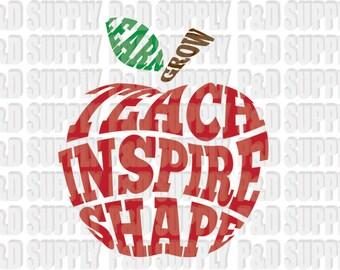 Teach Inspire Shape Apple Teacher SVG, DXF - Digital Cut file for Cricut or Silhouette svg dxf