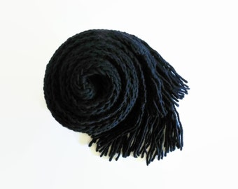 Scarf Knitted in Black Merino Wool - Winter Long Scarf with Fringes, Mens Womens Scarves, Hand Knitted, Cute Multi Wrap Scarf, Ribbed Scarf