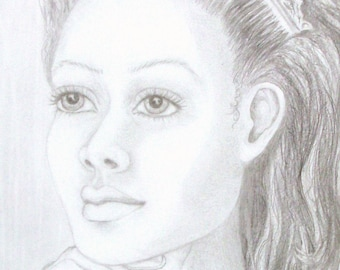 "Original Pencil Portrait, ""REGINA"", Graphite drawing, RedRobinArt, Grigsby Gallery and Gifts"