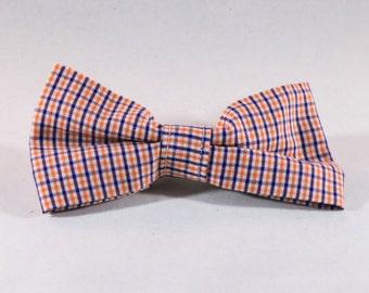 Preppy Navy and Orange Gingham Dog Bow Tie, Check Plaid Auburn University Tigers