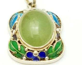 Chinese export silver pendant with Jade and enamel